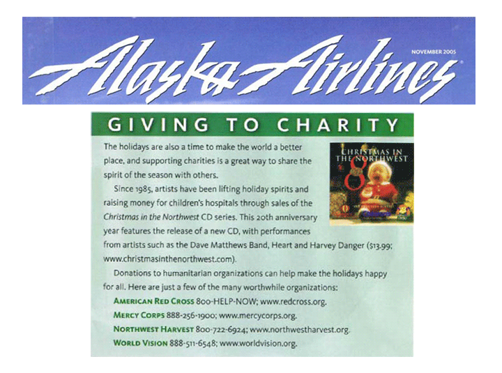 Christmas in the Northwest in Alaska Airlines Magazine November 2005