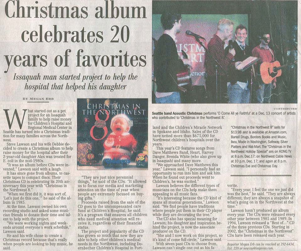 Christmas in the Northwest in the Issaquah Press December 15, 2005