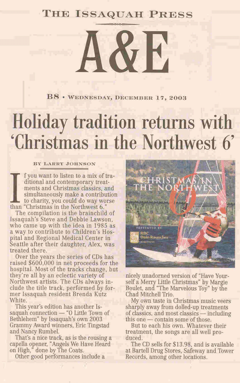 Christmas in the Northwest in the Issaquah Press 2003