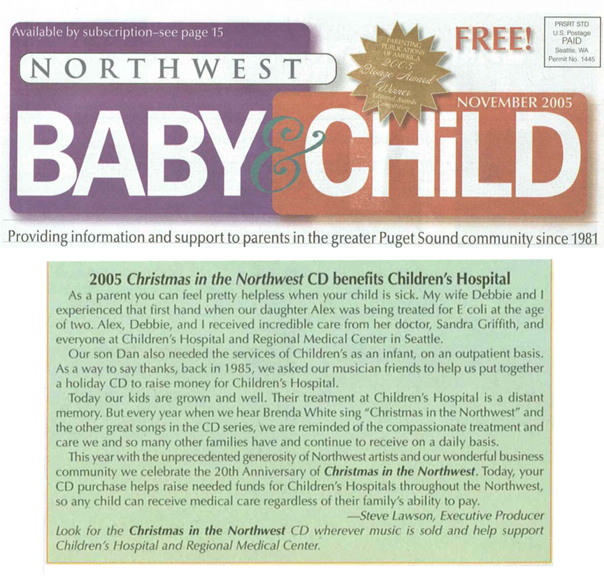 2005 Christmas in the Northwest - Northwest Baby and Child Magazine Article
