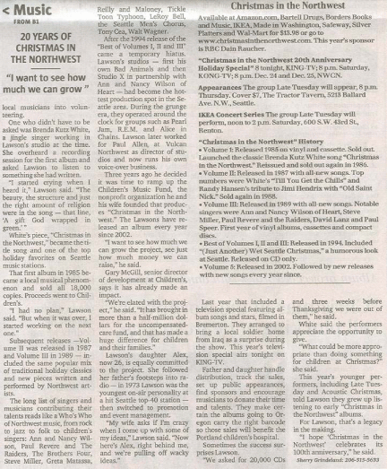 Christmas in the Northwest - Seattle Times 20th Anniversary Article 2005
