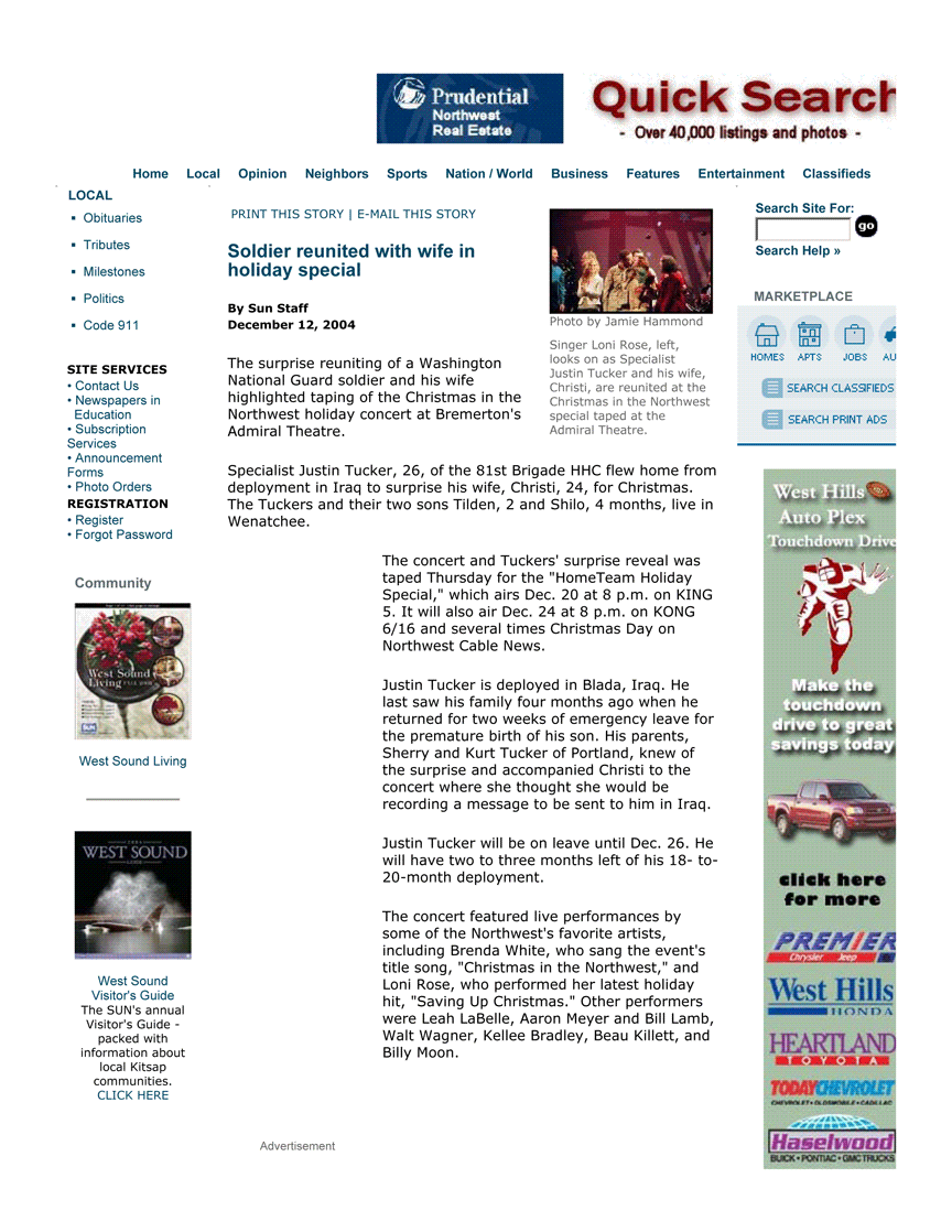 Christmas in the Northwest - Kitsap Sun 12-14-2004