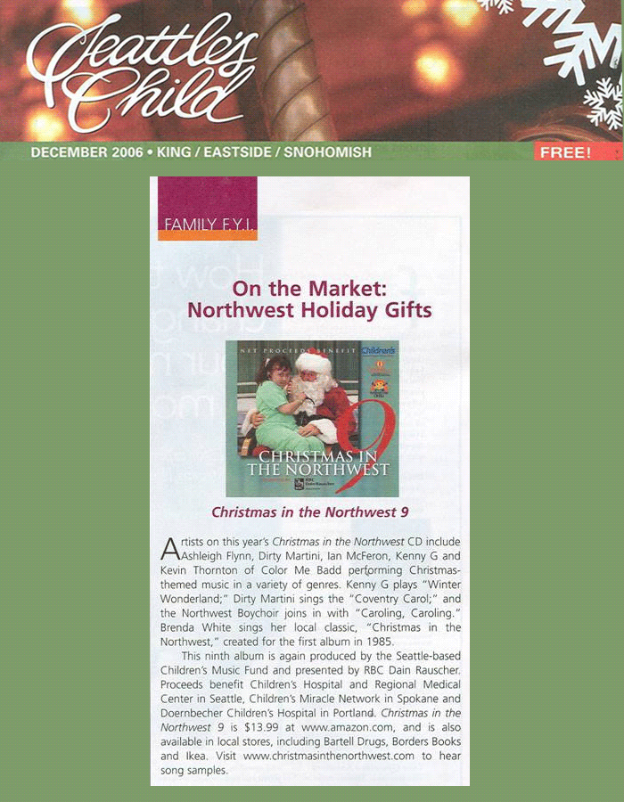 Christmas in the Northwest in Seattle's Child Magazine 2006